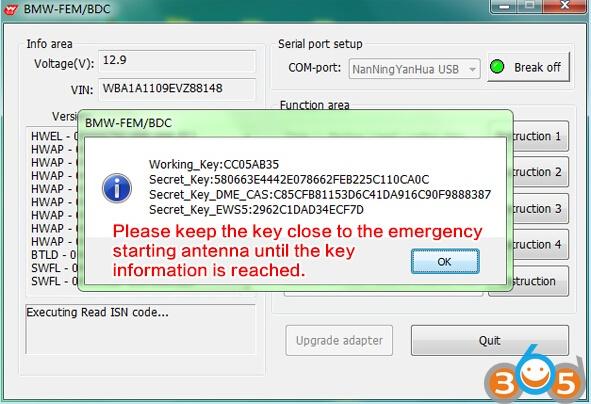 5 Steps to Program BMW FEM/BDC key with Yanhua BMW FEM