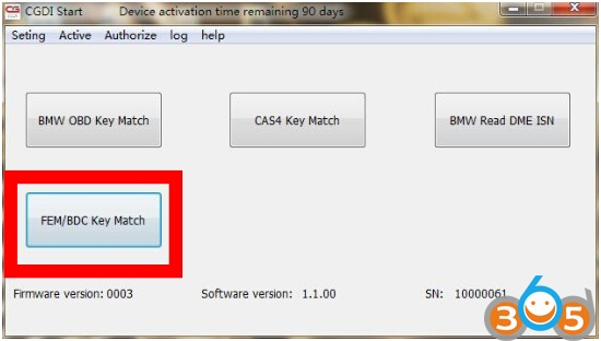 How to Open FEM BDC Authorization of CGDI Prog BMW Key