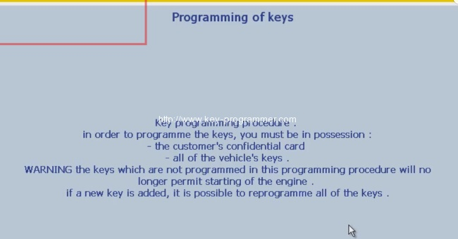 Lexia 3 PP2000 program peugeot 307 keys 9-12