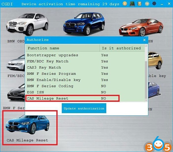 CGDI BMW adds CAS1 to CAS3++ OBD Odometer Reset Function