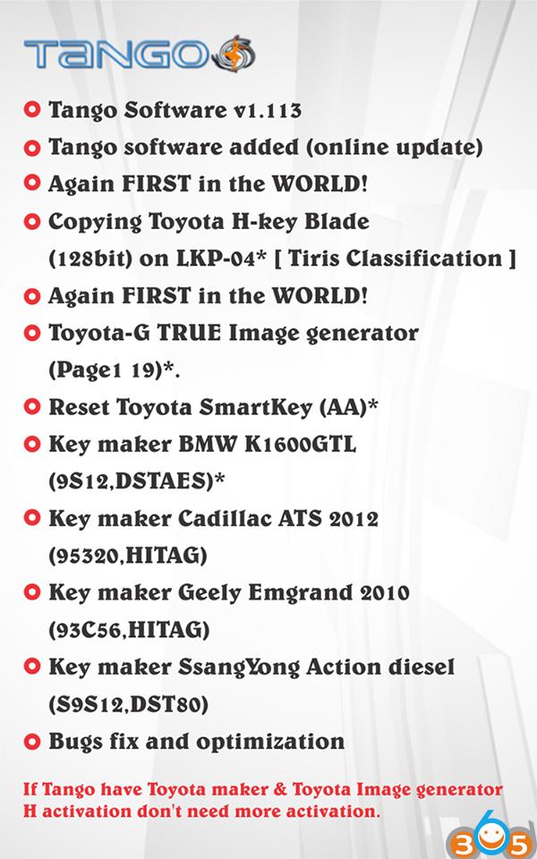 Original Tango V1.113 adds Toyota H 128bit and G TRUE Image generator