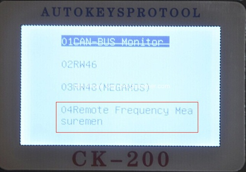 How to read remote key frequency with CK200 CK-200